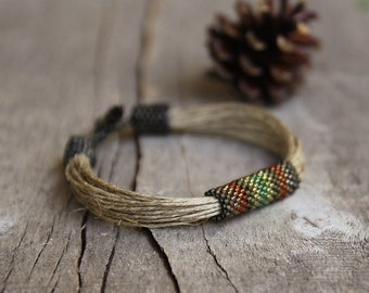 Unique Braclet Men, Hemp Bracelet for Man, Gray Brown Bracelet, Mens Africa Jewelry, Trending man bracelets, Gifts for Men