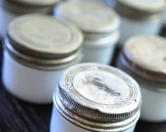 Lot of 14 Antique Hazel Atlas Tincture Jars Milkglass Milk Glass Apothecary White Lidded Almoline Balm Jars Tin Lidded Small Jars 10 w Lids