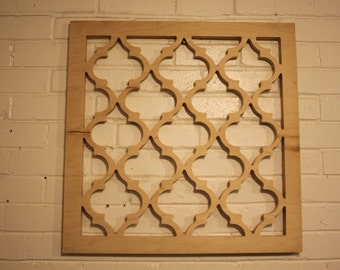 Moroccan Lattice Wall Hanging 24 x 24 x .75 Wood Unfinished