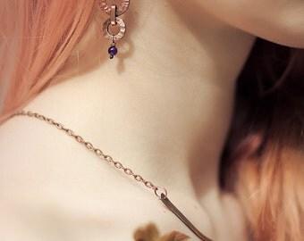 Simple earrings Copper Earrings Dangle earrings Amythist earrings Copper jewelry handmade Gift under 30