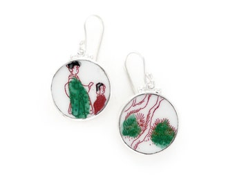 Japanese Dangle Earrings, Antique Broken China Jewelry, Green and Red Earrings, Geisha