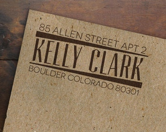Custom Address Rubber Stamp • Personalized • Wooden Handle • Typographic Return Address