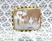 14K Gold Cameo Brooch with Keeper Chain