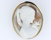 14K Gold Large Oval Cameo Convertible Brooch/Pendant with Female and Bird
