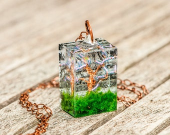 Spring Tree Resin Pendant Necklace #1
