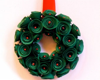 Green wreath, cardstock paper rosette wreath, holiday decoration, Christmas decoration, paper flower, door wreath, recycled paper