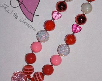 Huge Pink Glitter Heart Valentine's Day Chunky Bubblegum Necklace