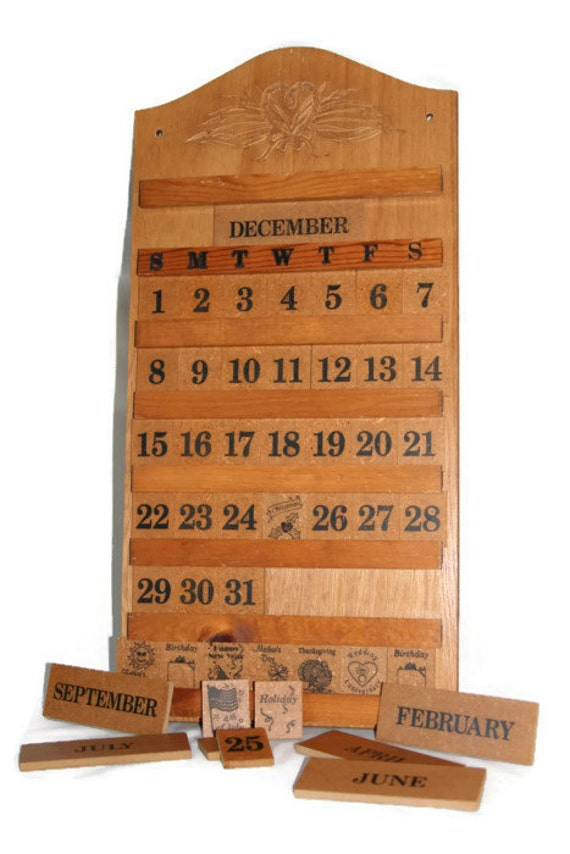 Perpetual Calendar Wooden Wall Calendar Vintage by CocoRaes