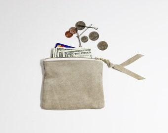 "Repurposed Suede Mini 5"" Zipper Pouch / Coin Purse Wallet"