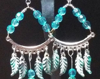 Acrylic and Glass Blue Feather Chandelier Earrings