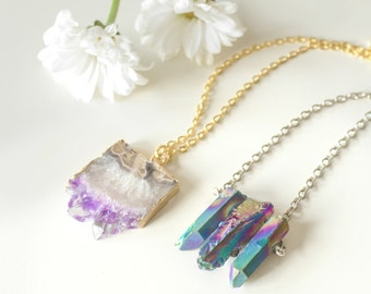 Gunmetal luxe healing crystal bullet stone necklace vintage triple rainbow healing crystal necklace quartz silver chain vintage boho galaxy natural aloadofball Image collections