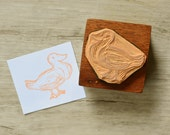 Duck Hand-Carved Rubber Stamp - mounted on wooden handle - 2x2 in.