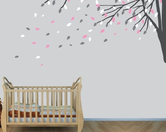 Single Pink and Gray Tree Branch Wall Decals, Tree Decals For Nursery, Wall Clings, Tree Branch Wall Decor, Dark Gray c43c76c80