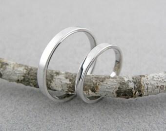 Gold wedding bands set-14k White Gold Wedding Ring Set-Handmade Shiny Finish Wedding Rings- 2 x 1.2mm.