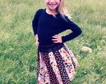 Girls Halloween Skirt, Girls Skirt, Candy Corn Skirt, Girls Elastic Waist Skirt, Size 10 Skirt, Size 11 Skirt, Size 12 Skirt, Halloween