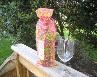 Wine Bag Fuchsia Orange Green Abstract Motif Translucent Fuchsia Ribbon  Bottle Bag Party Bag Gift Bag Mother's Day Gift Bag Spring Summer