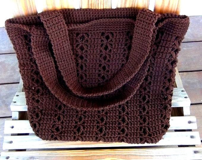 "Brown Shoulder Bag - Beach Bag and Totes - Two Handled Crochet Bag - Reuseable Shopping Bag 15"" w X 16"" h- Crochet Acrylic Market Bag -"