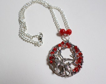 Game of Thrones-inspired Old Gods Tree of Life Red Bead Wolf Dragon Vein Necklace
