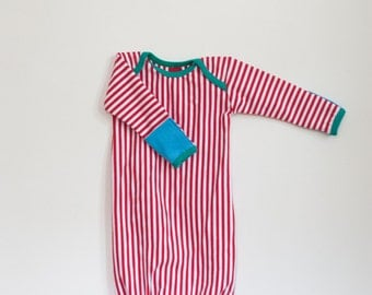 organic baby gown with mitts | cherry stripe