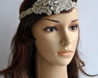 Crystal Rhinestone 1920s Headpiece,Flapper Headpiece,Rhinestone beaded headpiece, Great Gatsby Headband, crystal rhinestone bridal headband
