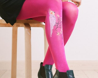 Tights with hand painted motives - Parrot