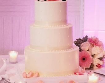 """6"""" Tall  Acrylic  Monogram Initial Wedding Cake Topper Any Letter A B C D E F G H I J K L M N O P Q R S T U V W X Y Z"""