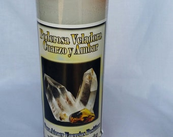 Quartz & Amber Candle (Brujeria,Paleria,Santeria,Wicca,Witchcraft,Witch,Voodoo,Hoodoo, Magic)