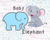 "Baby Elephant Pink or Blue Custom Name Fabric Material for Applique, ITH, & Craft Projects. Full 18""x12"" or Half 12""x8"""
