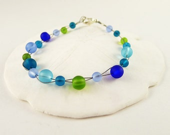 Blue and green sea glass bracelet green and blue sea glass jewelry cobalt blue seaglass bracelet green seaglass jewelry handmade bracelet