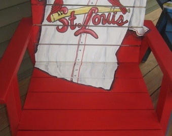 St Louis Cardinals Trompe L 39 Oeil Custom Wood Chair