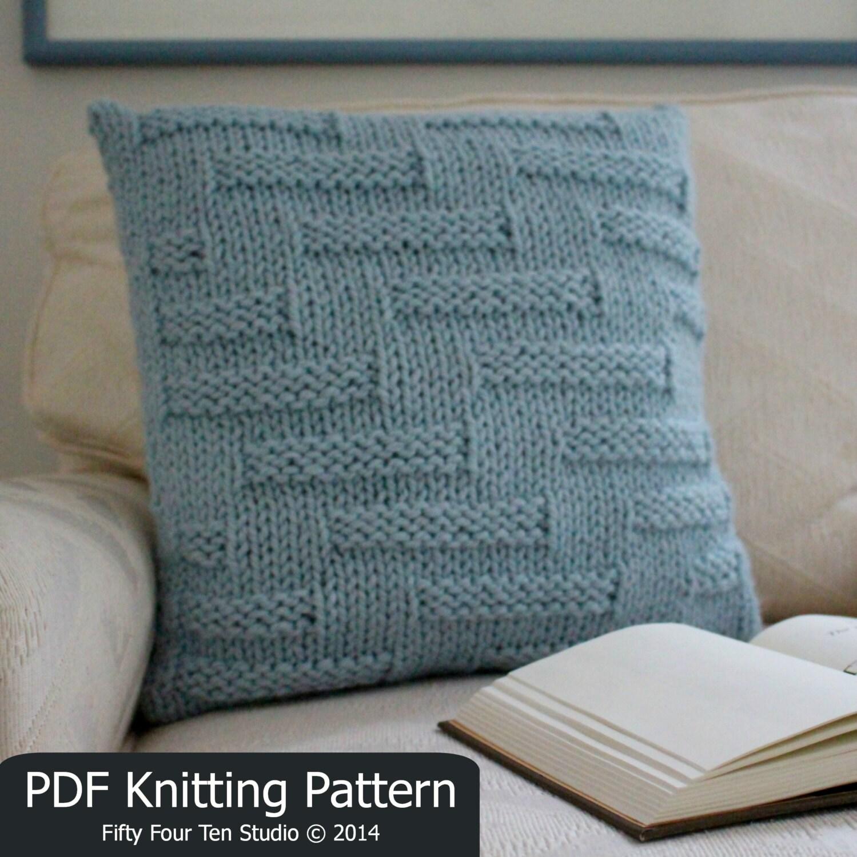 Knitting Pillow Case Pattern : Knitting pattern pillow cushion quick easy knit