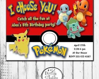 I choose you! Pokemon Birthday Invitation