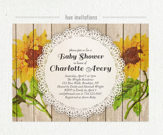sunflower baby shower invitation rustic watercolor painted sunflowers