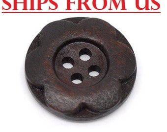 "50 Dark Brown 3/4"" inch Wooden Buttons  20mm Wooden Button Flower Button Wholesale Wood Button Lot Buttons Bulk Wooden Buttons Wood Button"