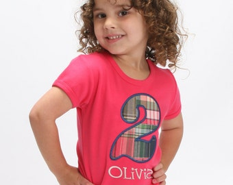 Girl's Birthday Number Shirt and Embroidered Name