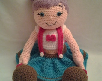 PIPER Crochet Amigurumi Doll - Crochet Doll with Purple Hair and Cute Outfit