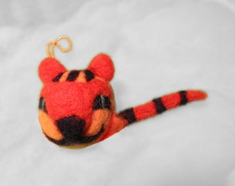 Felted tiger, wet, needle felted, merino wool, home decor, toy