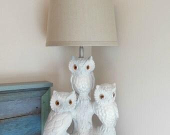 Vintage Chalkware Owl Lamps