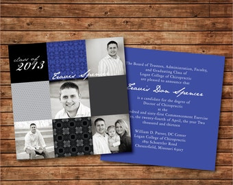 "Printable Graduation Announcement: Double-Sided Photo Card ""Squares"""