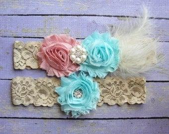 Bridal Garter Set, Wedding Garter, Toss Garter, Feather Garter, Lace Garter, Gold Lace, Dusty Rose Garter