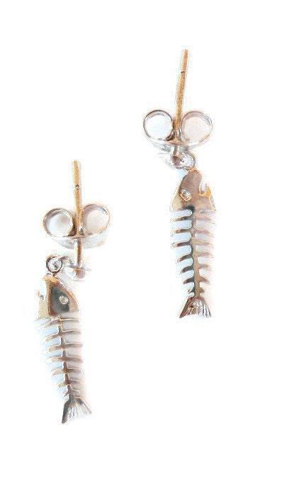 Fishbone earrings dangle earrings silver fishbone for Fish bone earrings