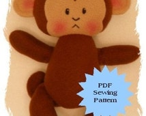 Monkey Plushie PDF Sewing Pattern -  Softie, Plushie, Stuffed Animal Toy Pattern - Instant Download, DIY