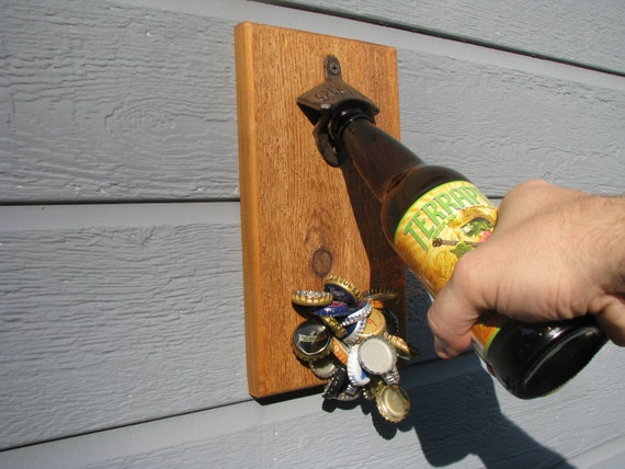 Wall mount bottle opener with magnetic cap catcher - Bottle opener wall mount magnet ...
