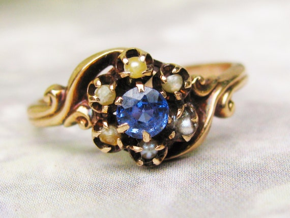Antique Sapphire and Pearl Engagement Ring by LadyRoseVintageJewel