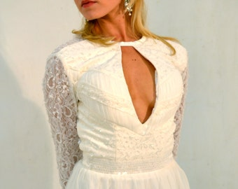 Custom made 'Corinne' bridal gown modern vintage Hollywood red carpet backless lace wedding dress