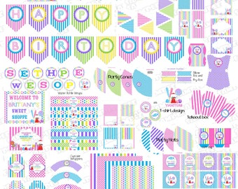 Candy party sweet shoppe party Huge birthday NO INVITE printable party supplies  UPrint customized card by greenmelonstudios