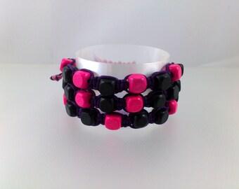 Pink Black Macrame Bracelet