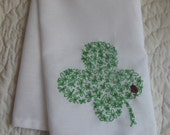hand embroidered st patrick's day shamrock tea towel