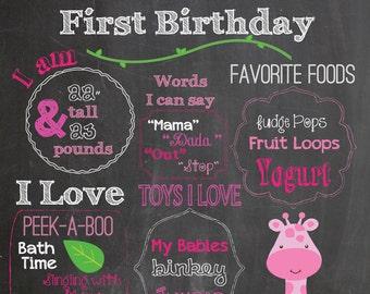 First Birthday Chalkboard Printable Poster Pink Giraffe theme / Baby Girl / 1st Birthday .pdf or .jpeg
