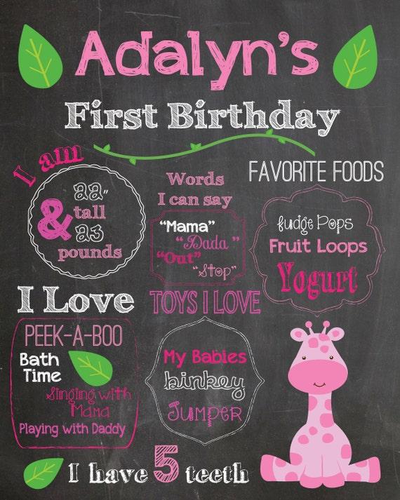 First birthday chalkboard printable poster pink giraffe theme for First birthday chalkboard printable